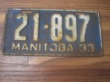 1933 Manitoba Canada 85 year old License Plate 21-897