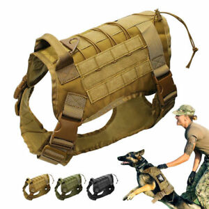 K9 Molle Nylon Large Dogs Harness Police Military Working Training Tactical Vest