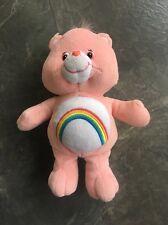 "Care Bears Plush 10"" Cheer Bear Pink W/ Rainbow Belly 2002 Carebear"