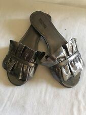 MICHAEL KORS Bella Ruffled Metallic Leather Slide Pale Silver Womens Size 6.5M