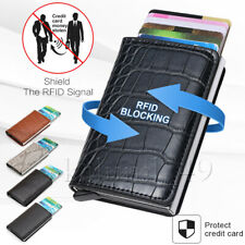 Auto titular de la tarjeta de crédito de Cuero RFID Bloqueo Billetera Dinero Clip de Metal versión 2