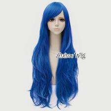 Unique Vogue Women Blue 80CM Long Wavy Cosplay Wig Heat Resistant +Cap