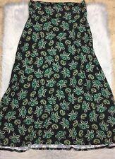 Lularoe Maxi Skirt Black Multicolored Paisley Print Sz XL