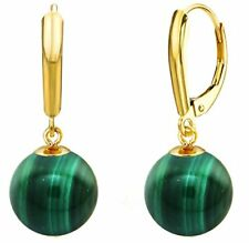 Pearl Earrings 14k Yellow Gold Leverback 10mm Round Simulated Green Malachite
