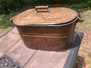 Antique Rochester Copper Boiler Wood Handled Primitive Wash Tub WITH LID