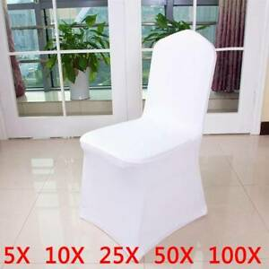 Spandex Dining Room Chair Slip SEAT Covers Stretch Removable Wedding Snow White