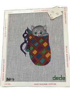 Hand painted needlepoint Canvas Dede #861-B Christmas Cat