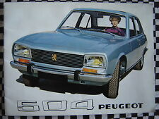 rare brochure PEUGEOT 504 1970 INJECTION & CARBURATEUR  couleurs français