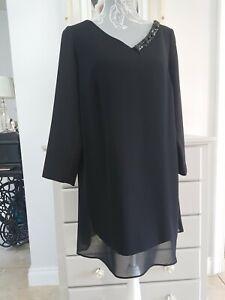 Marina Rinaldi Black Tunic Top Size 19 UK 14- 3/4 Sleeve - Embellished V Neck