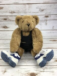 "Vermont Teddy Bear Fitness 17"" Workout Brown Plush Stuffed Animal Shoes Jointed"