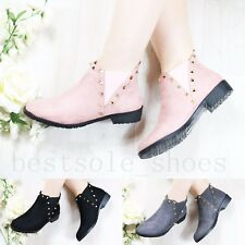 LADIES WOMENS STUDDED ANKLE BOOTS CHELSEA BOOTS LOW FLAT BLOCK HEEL SHOES SIZE