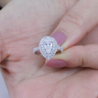 .925 Sterling Silver Pear Halo Cz Wedding Band Engagement Ring Size 3-14 SE23A