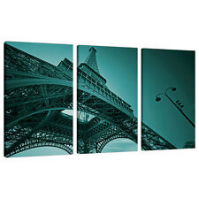 Three Teal Canvas Pictures Paris France Blue Green Wall Art Print 3014