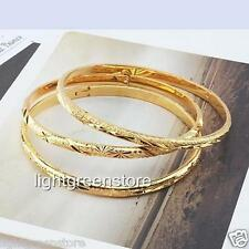 3pcs 18k yellow gold filled carved bracelet women's bangle 6mm wide jewelry new