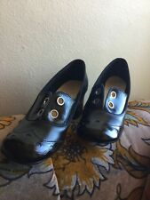 Vintage black 1960's 1970's Qualicraft casualets shoes size 5 ? Chunky heel