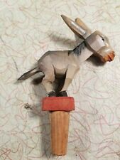 Vintage ANRI hand carved donkey bottle stopper movable head, ears and tail