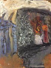 Nature morte superbe peinture sur papier renforcé expressionnisme anonyme