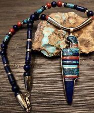 "Hopi CHARLES LOLOMA 14k & Multi Gem Raised Inlay Pendant Necklace ""MUSUEM PIECE"""