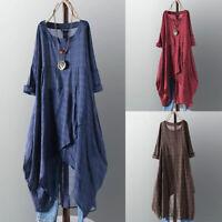 Mode Femme Vérifier Plaid Manches longues Asymétrique Tops Shirt Dress Robe Plus