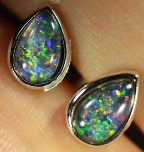 Women Opal 925 Silver Earrings with Australian Natural Black Opal Triplet