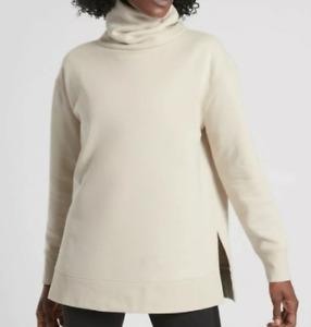 ATHLETA Beige 24/7 Funnel Neck Sweatshirt Cozy Warm Pullover Sweatshirt XX-Small
