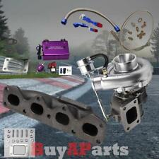 T3/T4 V-Band Turbo+Manifold+Purple Boost Controller+Oil Line for 90-93 Miata 1.6