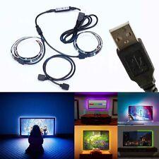 2pcs Kit RGB TV Backlight LED Strip USB Lighting Colour Changing 50cm Adjustable
