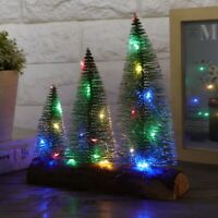 LED Mini Christmas Trees Ornament Snow Frost Small Pine Tree XMAS Decor