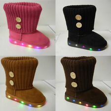 Led Light Boots Infant Toddler Girls Winter Cute Casual Faux Fur Suede Shoes Lt