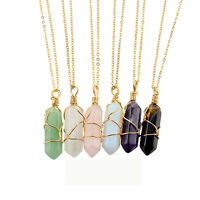 Women's Fashion Natural Crystal Quartz Heal Chakra Stone Pendant Gold Necklace