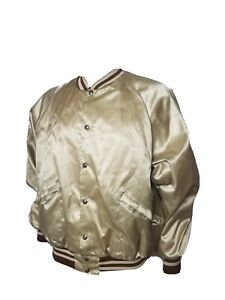 Vintage King Louie Satin Jacket Snap Pro Fit Gold Made in USA Mens XL 1970s EUC