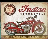 New Indian Scout Model 101 TIN SIGN metal vtg motorcycle garage bar wall decor