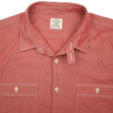 J CREW Solid Red Chambray Denim Like Workshirt Mens Casual Shirt - L