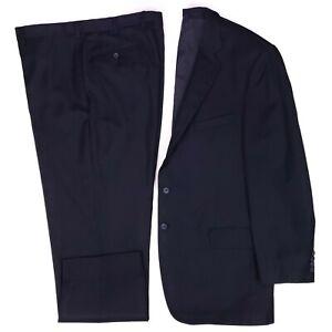 46L Joseph Abboud Suit Blue Pinstripe Wool Cashmere Blend Flat Front Mens Size
