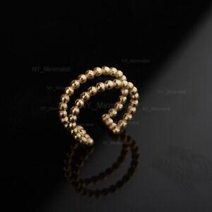 14K Solid Yellow Gold Double Rolo Eternity Band Ear Cuff Earring Fine Jewelry