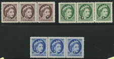 Canada 1955 QEII Wilding 'G' overprint 'Wide Spacing' #O40i. O41i, O44i VF MNH