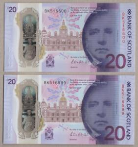PAIR OF BANK OF SCOTLAND NEW POLYMER £20 UNCIRCULATED PREFIX BK 516599 & 516600