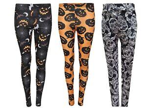 Womens Halloween Pumpkin Stretchy Leggings Ladies Pants Spider Web Bats Skull