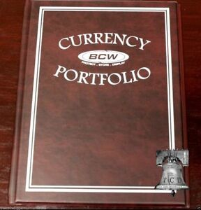 BCW Currency Album Holder Banknote Portfolio 3 Pocket Book BURGUNDY 30 Bill Case