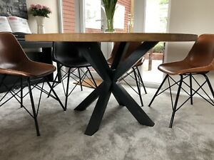 1200mm / 120cm - SOLID OAK ROUND CROSS LEG TABLE - HAND CRAFTED - MADE TO ORDER