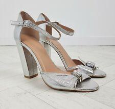 Whistles Silver Metallic Thurza Ring Detail Block Heel Sandals 70s Size 40 7