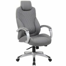 Boss Office Albany Faux Leather Swivel Executive Office Chair In Gray