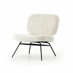 "28.25"" L Amantzi Accent Chair Ivory Angora Occasional Fur Iron Waxed Black"