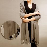 UK Women Winter Warm Cashmere Silk Solid Long Pashmina Shawl Wrap Scarf NEW