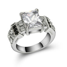 Jewelry Size 9 Womens White Topaz 10K White Gold Filled Wedding Engagement Ring
