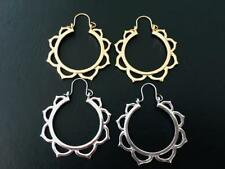 Silver Gold Hoop Lotus Flower Earrings Tribal Ethnic Hand Crafted Women Girls