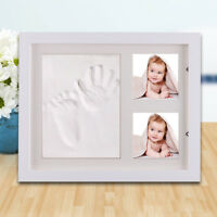 Baby Hand&Foot Print Clay Cast Kit&2 Photo Picture Frame Christening Gift Set