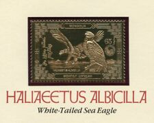 MONGOLIA 23kt GOLD FOIL SEA EAGLE STAMP OFFICIAL POSTAGE MINT NH MOUNTED CARD