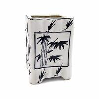 Vtg Mid Century Modern Black White Bamboo Plant Leaf Ceramic Planter Asian