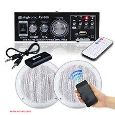Pair Outdoor Water Resistant Speakers Amplifier Bluetooth MP3 USB SD UK Stock